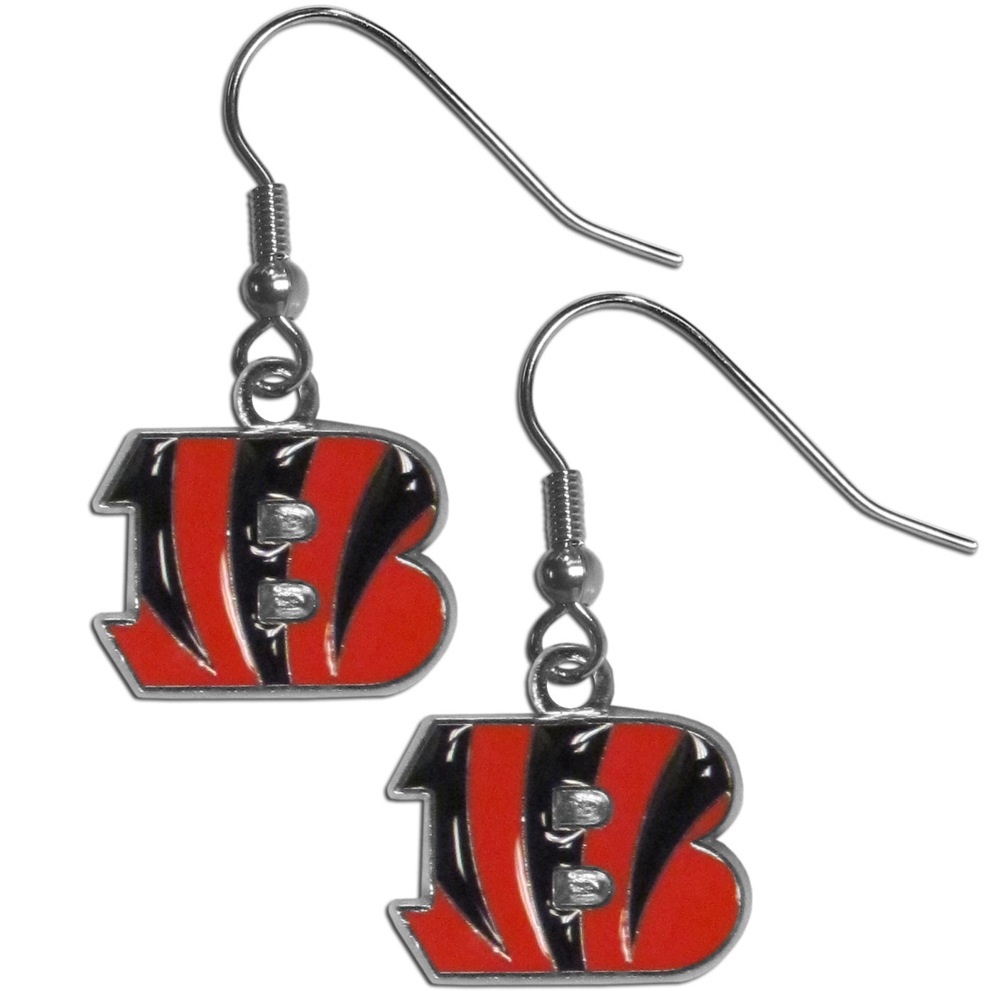 Cincinnati Bengals Chrome Dangle Earrings - Officially licensed NFL Cincinnati Bengals dangle earrings have fully cast Cincinnati Bengals charms with exceptional detail and a hand enameled finish. The Cincinnati Bengals earrings have a high polish nickel free chrome finish and hypoallergenic fishhook posts. Officially licensed NFL product Licensee: Siskiyou Buckle .com