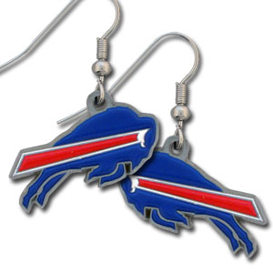 NFL Dangling Earrings - Buffalo Bills - Enameled zinc Buffalo Bills logo earrings with the NFL Buffalo Bills  Logo. A great way to show off your Buffalo Bills spirit! Check out our entire line of Buffalo Bills NFL jewelry! Officially licensed NFL product Licensee: Siskiyou Buckle .com