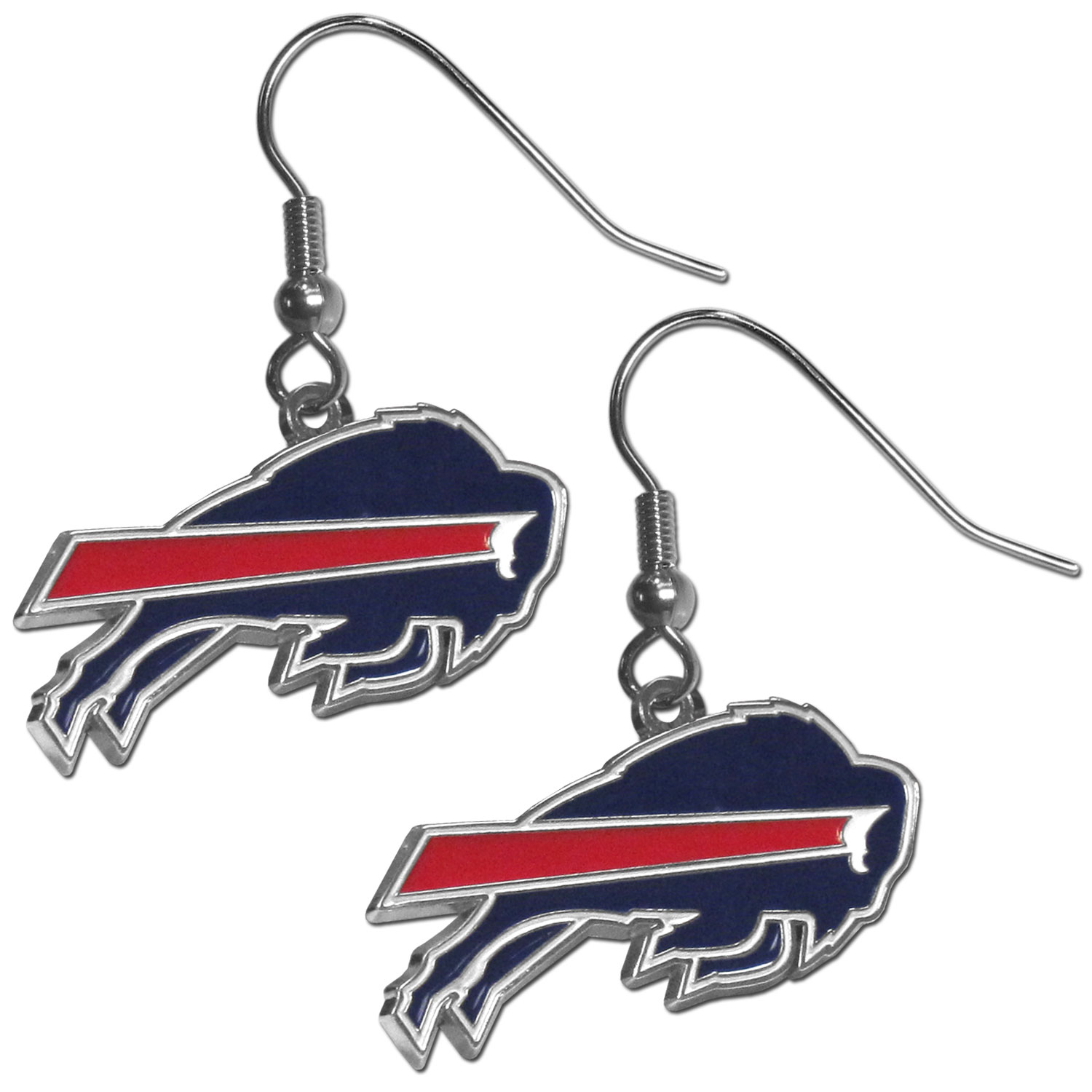 Buffalo Bills Chrome Dangle Earrings - Officially licensed NFL Buffalo Bills dangle earrings have fully cast Buffalo Bills charms with exceptional detail and a hand enameled finish. The Buffalo Bills earrings have a high polish nickel free chrome finish and hypoallergenic fishhook posts. Officially licensed NFL product Licensee: Siskiyou Buckle .com