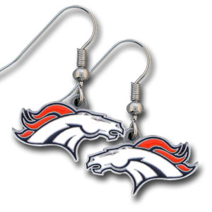NFL Dangling Earrings - Denver Broncos  - Enameled zinc Denver Broncos logo earrings with the NFL Denver Broncos Logo. A great way to show off your Denver Broncos spirit! Check out our entire licensed sports Denver Broncos jewelry line! Officially licensed NFL product Licensee: Siskiyou Buckle Thank you for visiting CrazedOutSports.com