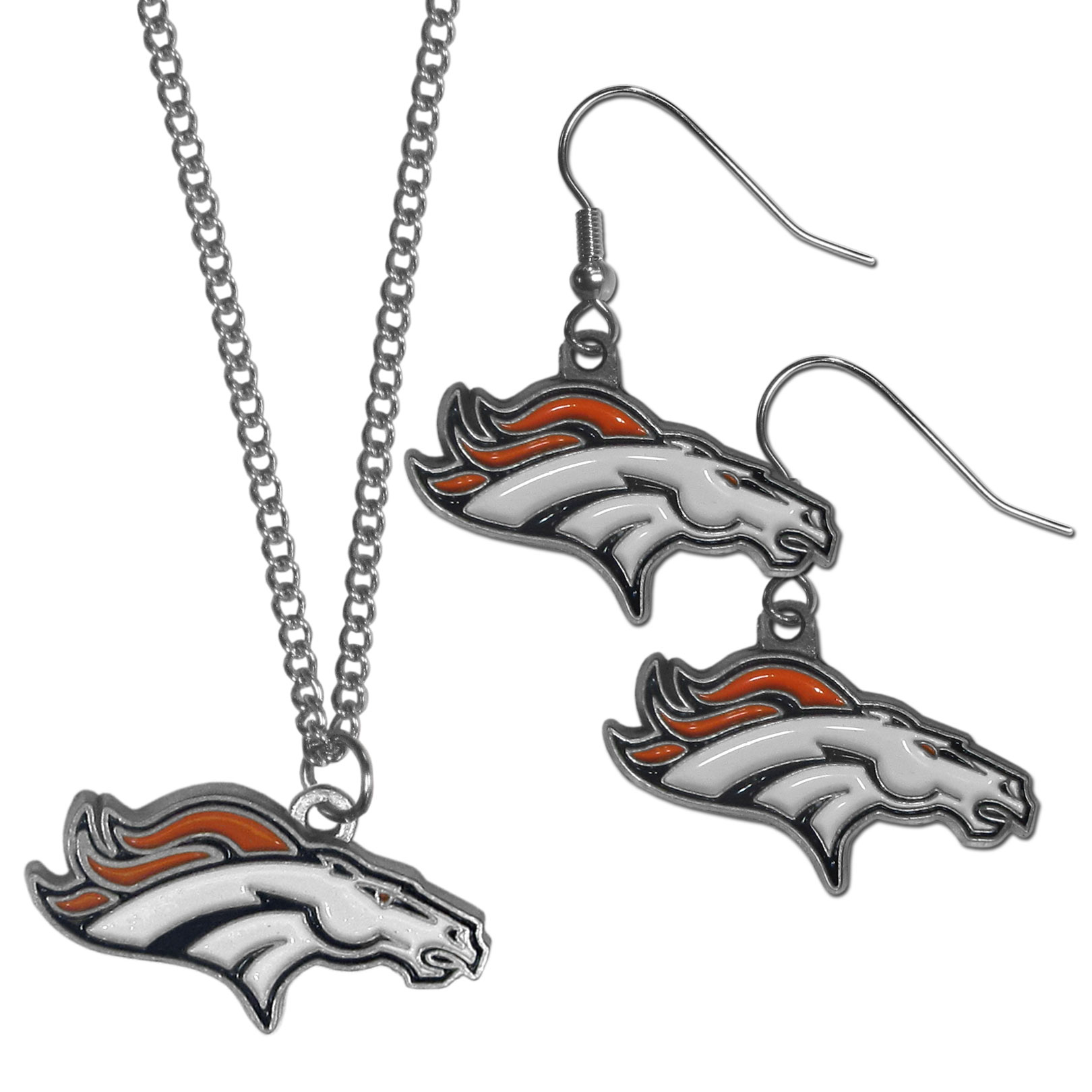 Denver Broncos Dangle Earrings and Chain Necklace Set - This classic jewelry set contains are most popular Denver Broncos dangle earrings and 22 inch chain necklace. The trendy, dangle earrings are lightweight and feature a fully cast metal team charm with enameled team colors. The matching necklace completes this fashion forward combo and is a spirited set that is perfect for game day but nice enough for everyday.