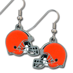 NFL Dangling Earrings - Cleveland Browns - Enameled zinc Cleveland Browns logo earrings with the NFL Cleveland Browns  Logo. A great way to show off your Cleveland Browns spirit! Check out our entire licensed sports Cleveland Browns jewelry line! Officially licensed NFL product Licensee: Siskiyou Buckle .com