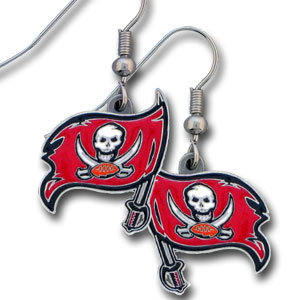 NFL Dangle Earrings - Tampa Bay Buccaneers - Enameled zinc Tampa Bay Buccaneers logo earrings with the NFL Tampa Bay Buccaneers Logo. A great way to show off your Tampa Bay Buccaneers spirit! Check out our entire licensed sports Tampa Bay Buccaneers jewelry line! Officially licensed NFL product Licensee: Siskiyou Buckle .com