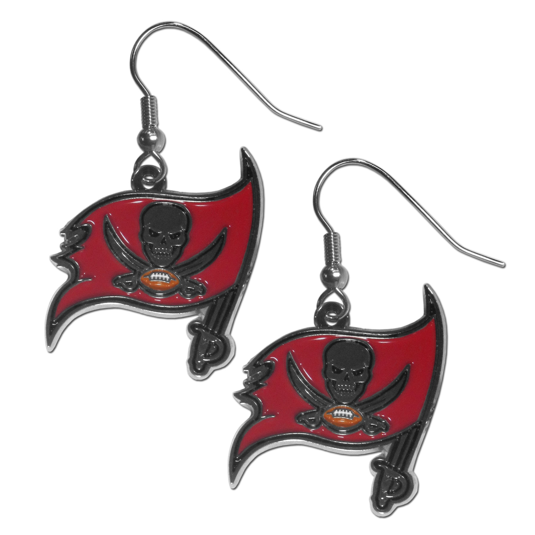Tampa Bay Buccaneers Chrome Dangle Earrings - Officially licensed NFL Tampa Bay Buccaneers dangle earrings have fully cast Tampa Bay Buccaneers charms with exceptional detail and a hand enameled finish. The Tampa Bay Buccaneers earrings have a high polish nickel free chrome finish and hypoallergenic fishhook posts. Officially licensed NFL product Licensee: Siskiyou Buckle .com