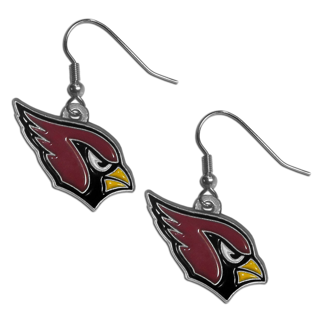 NFL Dangle Earrings - Arizona Cardinals - Enameled zinc Arizona Cardinals logo earrings with the NFL Arizona Cardinals Logo. A great way to show off your Arizona Cardinals spirit! Check out our extensive line of Arizona Cardinals NFL jewelry! Officially licensed NFL product Licensee: Siskiyou Buckle Thank you for visiting CrazedOutSports.com