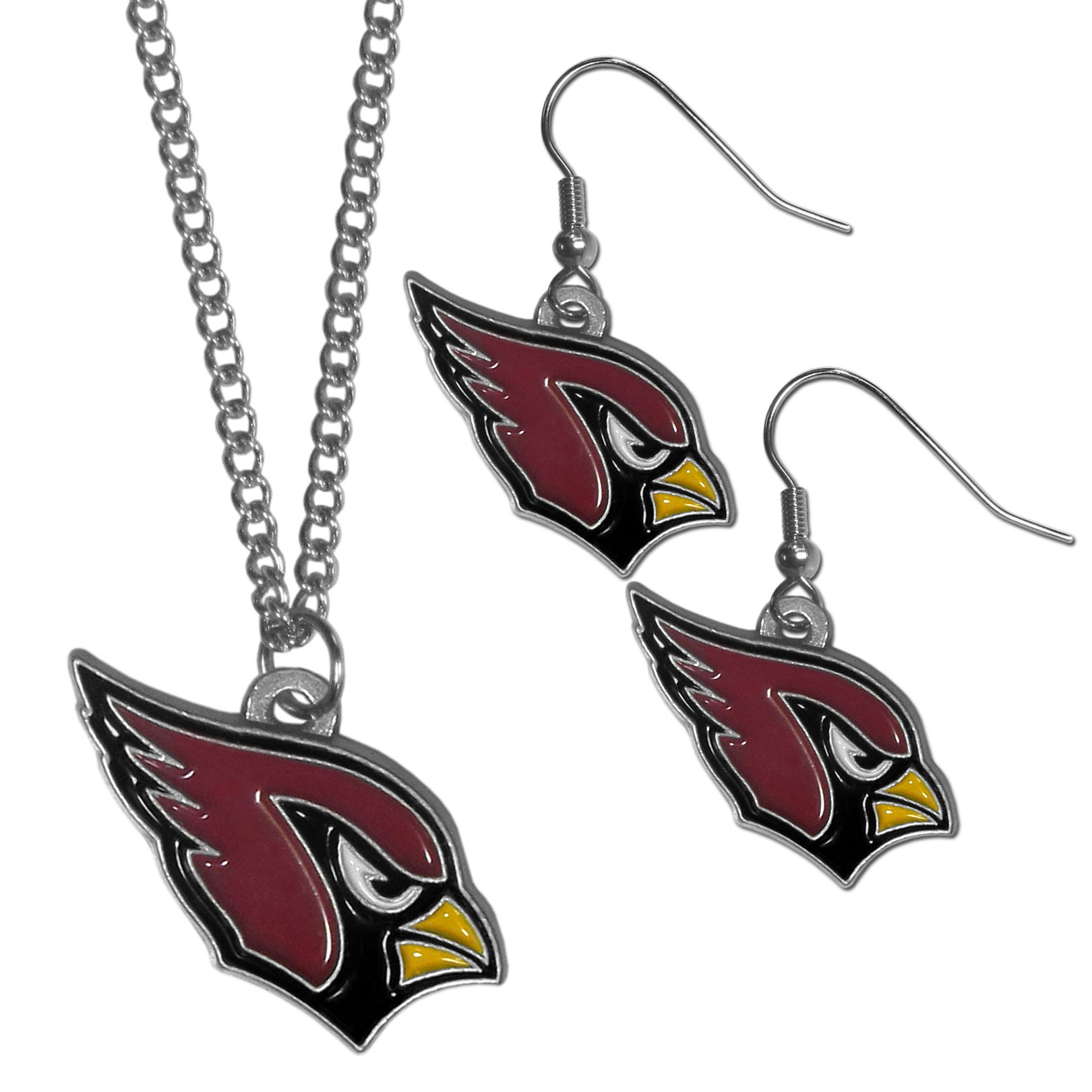 Arizona Cardinals Dangle Earrings and Chain Necklace Set - This classic jewelry set contains are most popular Arizona Cardinals dangle earrings and 22 inch chain necklace. The trendy, dangle earrings are lightweight and feature a fully cast metal team charm with enameled team colors. The matching necklace completes this fashion forward combo and is a spirited set that is perfect for game day but nice enough for everyday.