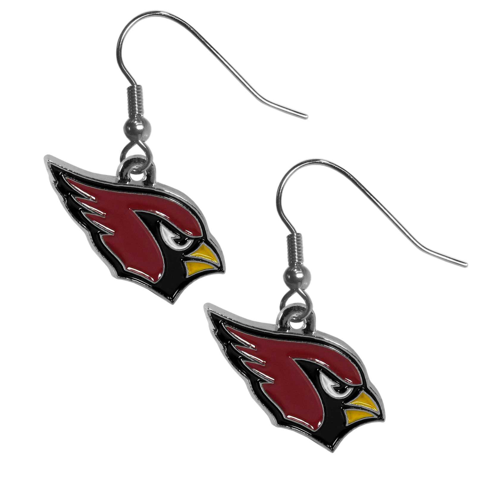 Arizona Cardinals Chrome Dangle Earrings - Officially licensed NFL Arizona Cardinals dangle earrings have fully cast Arizona Cardinals charms with exceptional detail and a hand enameled finish. The Arizona Cardinals earrings have a high polish nickel free chrome finish and hypoallergenic fishhook posts. Officially licensed NFL product Licensee: Siskiyou Buckle .com