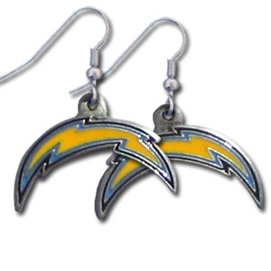 NFL Dangle Earrings - Los Angeles Chargers - Enameled zinc Los Angeles Chargers logo earrings with the NFL Los Angeles Chargers Logo. A great way to show off your Los Angeles Chargers spirit! Check out our entire licensed sports San Diego Chargers jewelry line! Officially licensed NFL product Licensee: Siskiyou Buckle .com