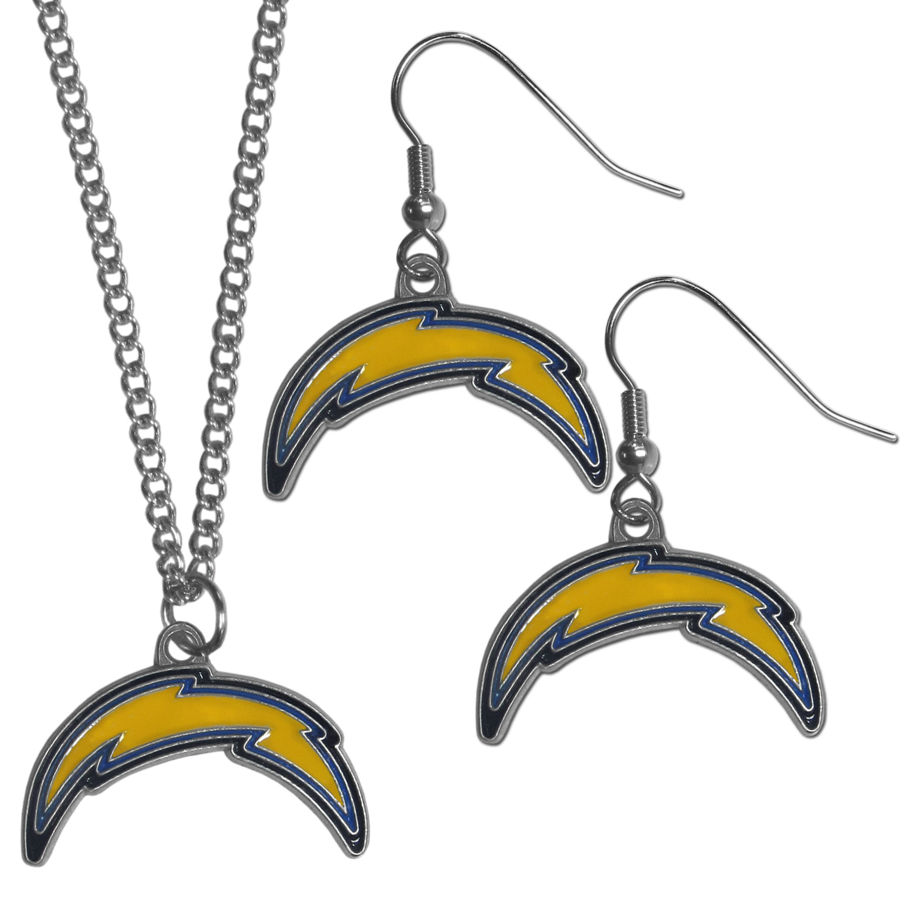 Los Angeles Chargers Dangle Earrings and Chain Necklace Set - This classic jewelry set contains are most popular Los Angeles Chargers dangle earrings and 22 inch chain necklace. The trendy, dangle earrings are lightweight and feature a fully cast metal team charm with enameled team colors. The matching necklace completes this fashion forward combo and is a spirited set that is perfect for game day but nice enough for everyday.
