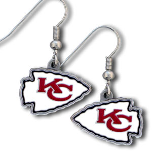NFL Dangle Earrings - Kansas City Chiefs - Enameled zinc Kansas City Chiefs logo earrings with the NFL Kansas City Chiefs Logo. A great way to show off your Kansas City Chiefs spirit! Check out our entire licensed sports Kansas City Chiefs jewelry line! Officially licensed NFL product Licensee: Siskiyou Buckle Thank you for visiting CrazedOutSports.com