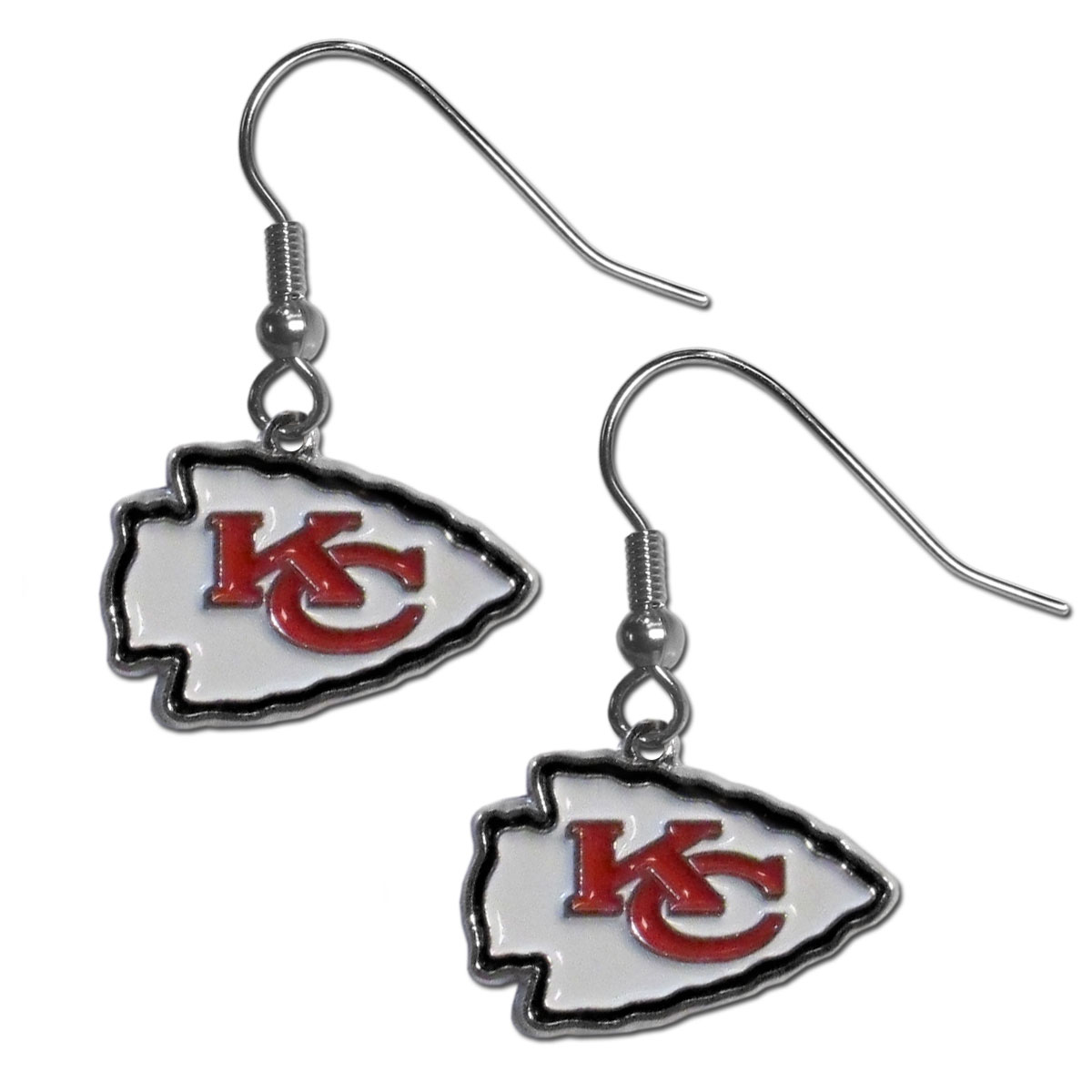 Kansas City Chiefs Chrome Dangle Earrings - Officially licensed NFL Kansas City Chiefs dangle earrings have fully cast Kansas City Chiefs charms with exceptional detail and a hand enameled finish. The Kansas City Chiefs earrings have a high polish nickel free chrome finish and hypoallergenic fishhook posts. Officially licensed NFL product Licensee: Siskiyou Buckle Thank you for visiting CrazedOutSports.com