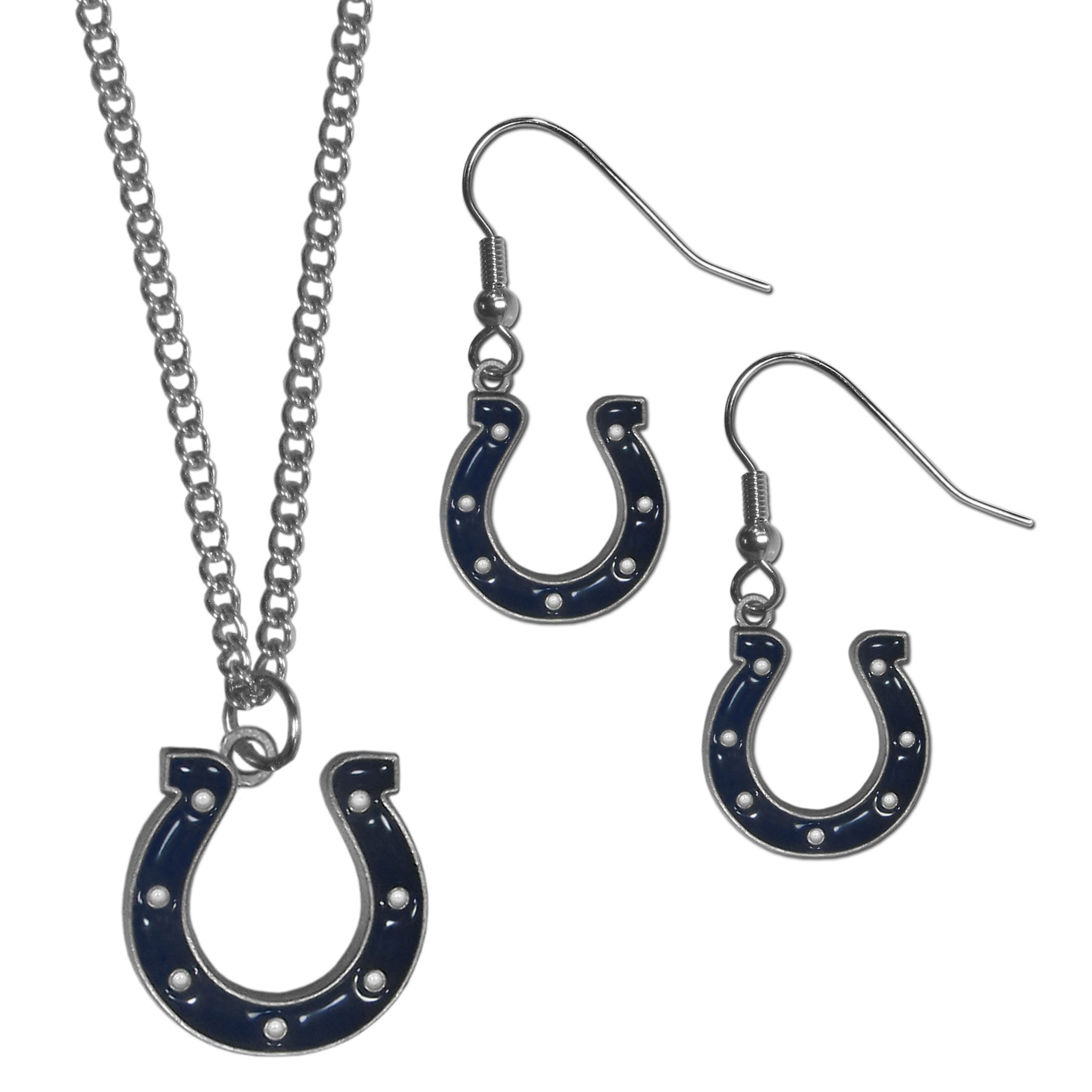 Indianapolis Colts Dangle Earrings and Chain Necklace Set - This classic jewelry set contains are most popular Indianapolis Colts dangle earrings and 22 inch chain necklace. The trendy, dangle earrings are lightweight and feature a fully cast metal team charm with enameled team colors. The matching necklace completes this fashion forward combo and is a spirited set that is perfect for game day but nice enough for everyday.