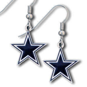 NFL Dangle Earrings - Dallas Cowboys - Enameled zinc Dallas Cowboys logo earrings with the NFL Dallas Cowboys Logo. A great way to show off your Dallas Cowboys spirit! Check out our entire licensed sports Dallas Cowboys jewelry line! Officially licensed NFL product Licensee: Siskiyou Buckle Thank you for visiting CrazedOutSports.com