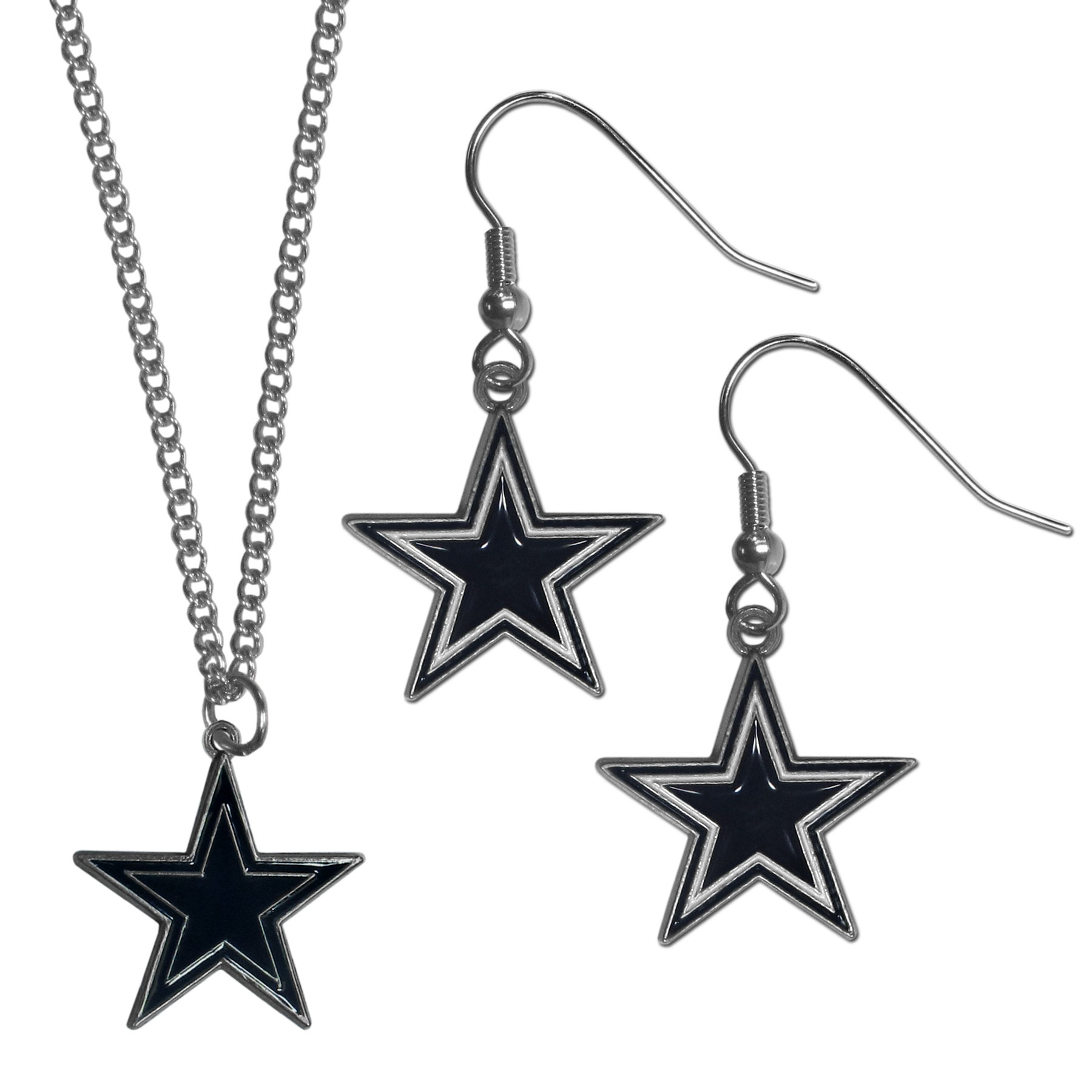 Dallas Cowboys Dangle Earrings and Chain Necklace Set - This classic jewelry set contains are most popular Dallas Cowboys dangle earrings and 22 inch chain necklace. The trendy, dangle earrings are lightweight and feature a fully cast metal team charm with enameled team colors. The matching necklace completes this fashion forward combo and is a spirited set that is perfect for game day but nice enough for everyday.