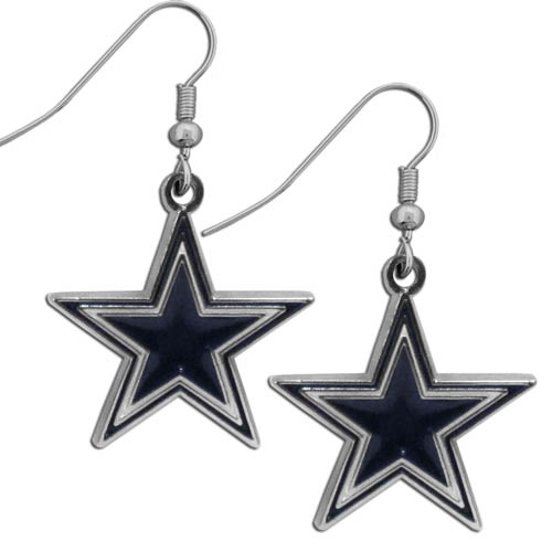 Dallas Cowboys Chrome Dangle Earrings - Officially licensed NFL Dallas Cowboys dangle earrings are fully cast with exceptional detail and a hand enameled finish. The earrings have a high polish nickel free chrome finish and hypoallergenic fishhook posts. Officially licensed NFL product Licensee: Siskiyou Buckle .com