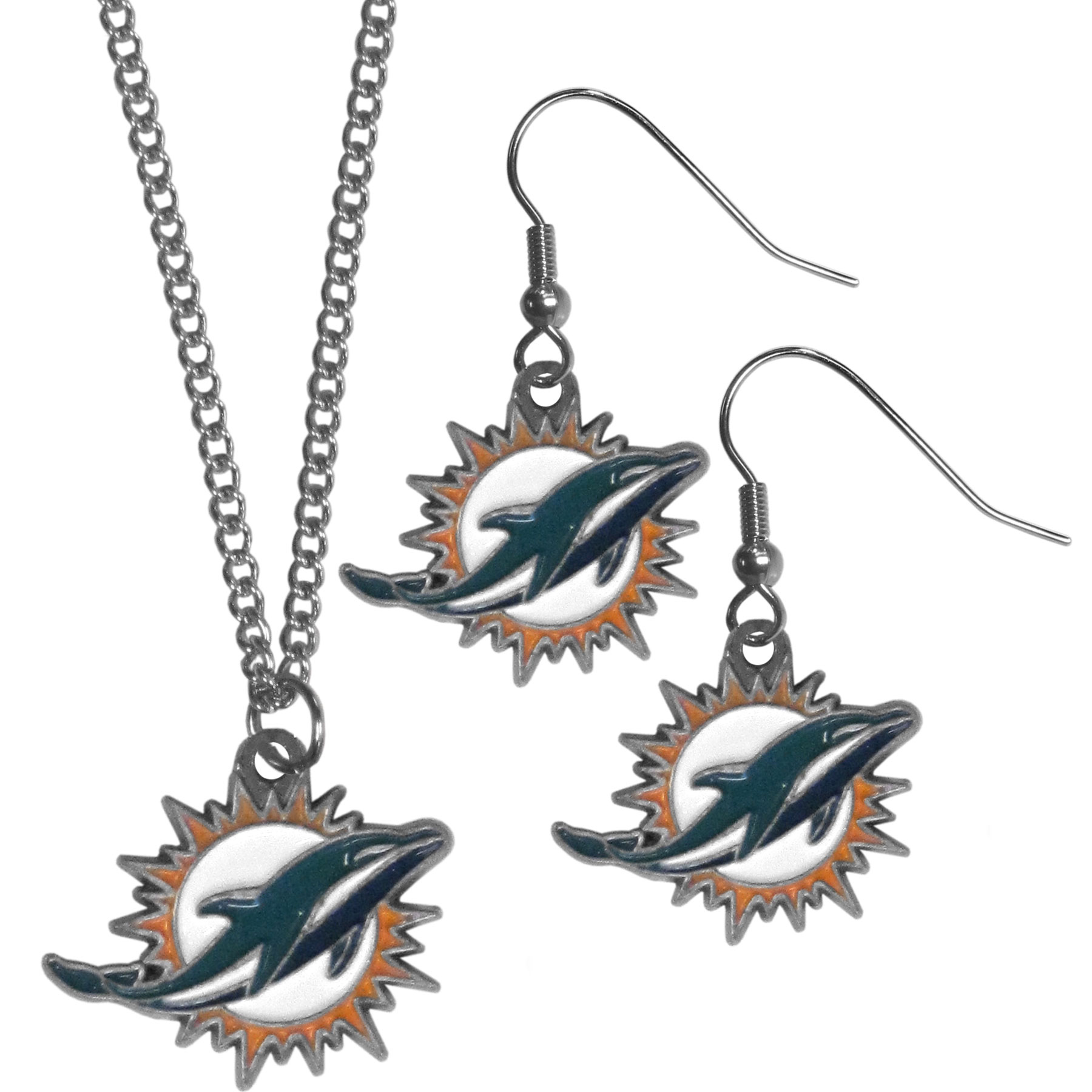 Miami Dolphins Dangle Earrings and Chain Necklace Set - This classic jewelry set contains are most popular Miami Dolphins dangle earrings and 22 inch chain necklace. The trendy, dangle earrings are lightweight and feature a fully cast metal team charm with enameled team colors. The matching necklace completes this fashion forward combo and is a spirited set that is perfect for game day but nice enough for everyday.