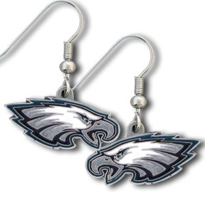 NFL Dangle Earrings - Philadelphia Eagles - Enameled zinc Philadelphia Eagles logo earrings with the NFL Philadelphia Eagles Logo. A great way to show off your Philadelphia Eagles spirit! Check out our entire licensed sports Philadelphia Eagles jewelry line! Officially licensed NFL product Licensee: Siskiyou Buckle .com