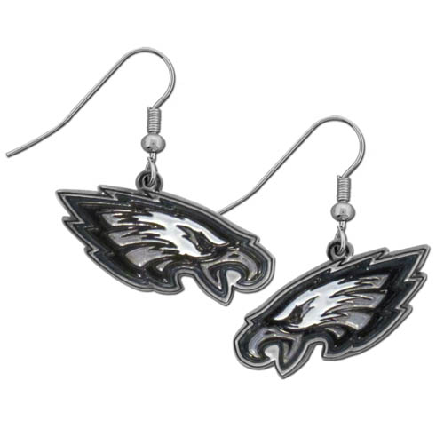 Philadelphia Eagles Chrome Dangle Earrings - Officially licensed NFL Philadelphia Eagles dangle earrings are fully cast with exceptional detail and a hand enameled finish. The earrings have a high polish nickel free chrome finish and hypoallergenic fishhook posts. Officially licensed NFL product Licensee: Siskiyou Buckle .com