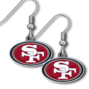 NFL Dangle Earrings - San Francisco 49ers - Enameled zinc San Francisco 49ers logo earrings with the NFL San Francisco 49ers Logo. A great way to show off your San Francisco 49ers spirit! Check out our entire licensed sports San Francisco 49ers jewelry line! Officially licensed NFL product Licensee: Siskiyou Buckle .com