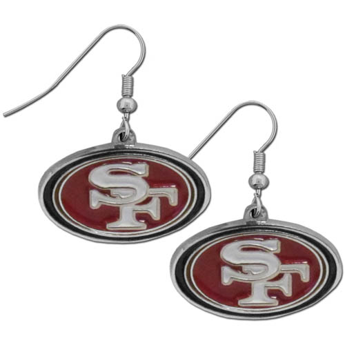 San Francisco 49ers Chrome Dangle Earrings - These officially licensed NFL San Francisco 49ers dangle earrings are fully cast with exceptional detail and a hand enameled finish. The earrings have a high polish nickel free chrome finish and hypoallergenic fishhook posts. Officially licensed NFL product Licensee: Siskiyou Buckle .com