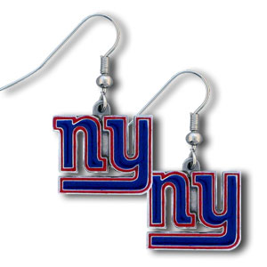 NFL Dangle Earrings - New York Giants - Enameled zinc New York Giants logo earrings with the NFL New York Giants Logo. A great way to show off your New York Giants spirit! Check out our entire licensed sports New York Giants jewelry line! Officially licensed NFL product Licensee: Siskiyou Buckle .com