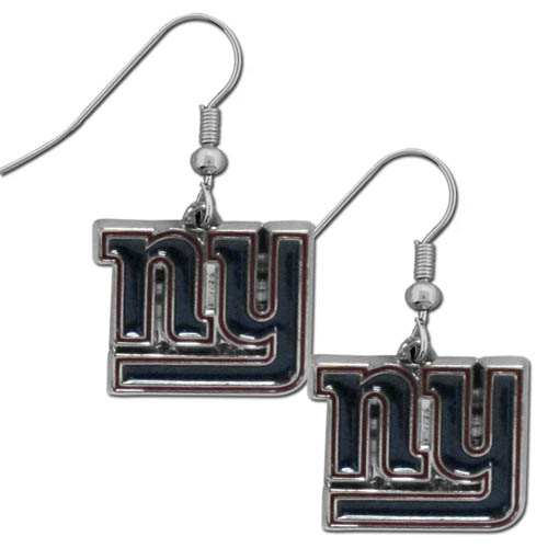 New York Giants Chrome Dangle Earrings - This officially licensed NFL New York Giants dangle earrings are fully cast with exceptional detail and a hand enameled finish. The earrings have a high polish nickel free chrome finish and hypoallergenic fishhook posts. Officially licensed NFL product Licensee: Siskiyou Buckle .com