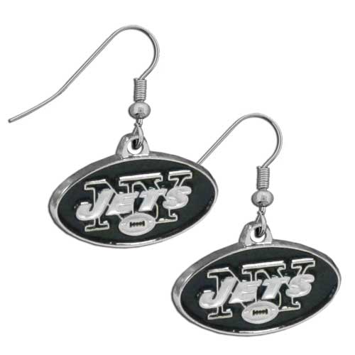 New York Jets Chrome Dangle Earrings - Officially licensed NFL New York Jets dangle earrings are fully cast with exceptional detail and a hand enameled finish. The New York Jets earrings have a high polish nickel free chrome finish and hypoallergenic fishhook posts. Officially licensed NFL product Licensee: Siskiyou Buckle Thank you for visiting CrazedOutSports.com