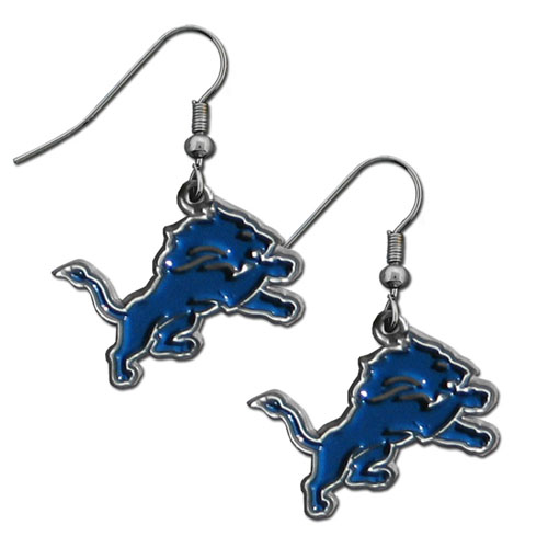 NFL Dangle Earrings - Detroit Lions - Enameled zinc Detroit Lions logo earrings with the NFL Detroit Lions Logo. A great way to show off your Detroit Lions spirit! Check out our entire licensed sports Detroit Lions jewelry line! Officially licensed NFL product Licensee: Siskiyou Buckle .com