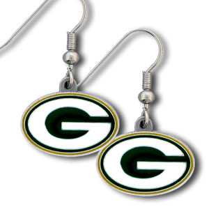 NFL Dangle Earrings - Green Bay Packers  - Enameled zinc Green Bay Packers logo earrings with the NFL Green Bay Packers Logo. A great way to show off your Green Bay Packers spirit! Check out our entire licensed sports Green Bay Packers jewelry line! Officially licensed NFL product Licensee: Siskiyou Buckle .com