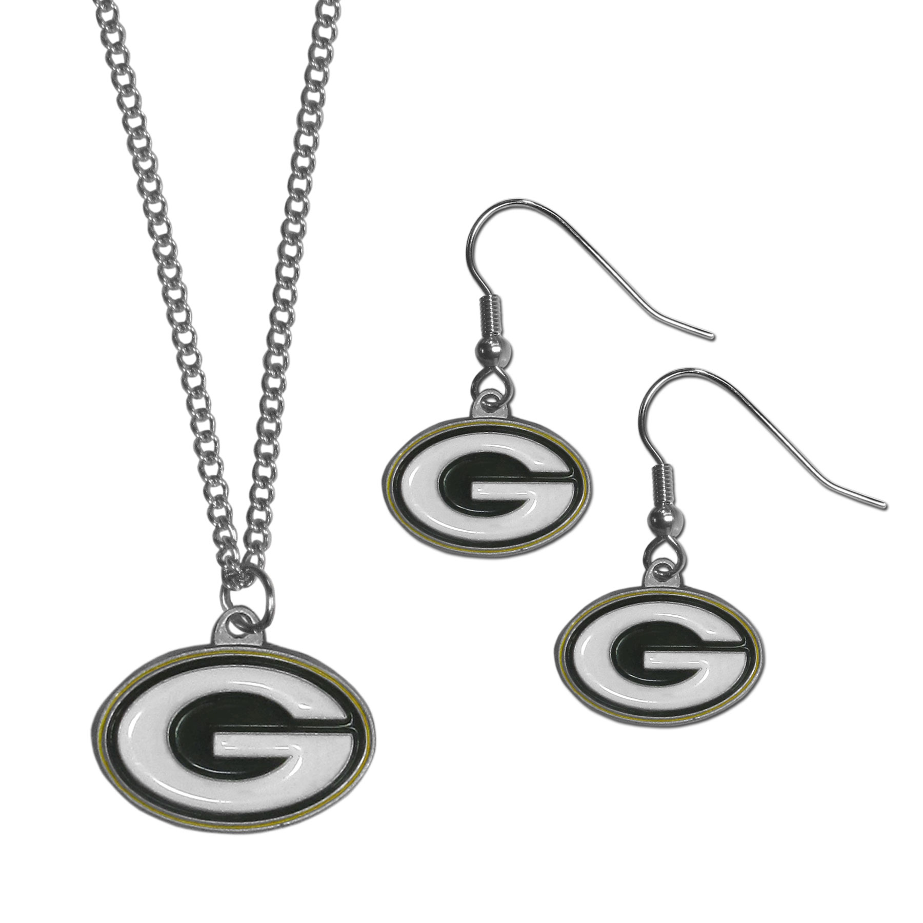 Green Bay Packers Dangle Earrings and Chain Necklace Set - This classic jewelry set contains are most popular Green Bay Packers dangle earrings and 22 inch chain necklace. The trendy, dangle earrings are lightweight and feature a fully cast metal team charm with enameled team colors. The matching necklace completes this fashion forward combo and is a spirited set that is perfect for game day but nice enough for everyday.