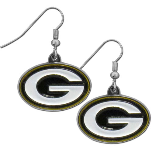 Green Bay Packers Chrome Dangle Earrings - These officially licensed NFL Green Bay Packers dangle earrings are fully cast with exceptional detail and a hand enameled finish. The earrings have a high polish nickel free chrome finish and hypoallergenic fishhook posts. Officially licensed NFL product Licensee: Siskiyou Buckle Thank you for visiting CrazedOutSports.com