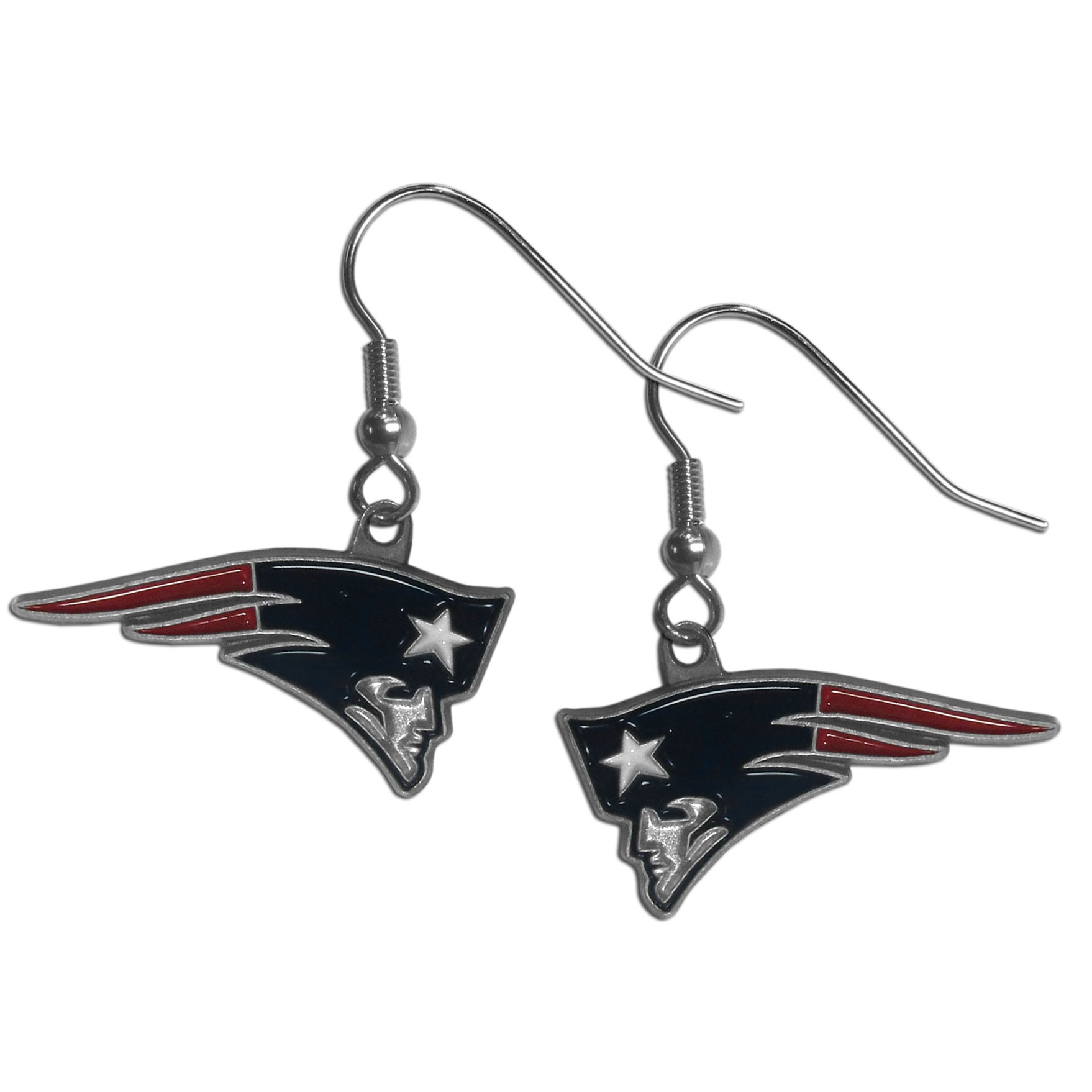 New England Patriots Dangle Earrings - Every woman has her favorite pair of earrings. Why not make our most popular earrings every woman's favorite earrings. Our officially licensed New England Patriots zinc dangle earrings are beautifully detailed with hand colored enamel team logos that define these classic dangle earrings. They add the perfect touch of spirit to any game day or every day outfit. The earrings have a high polish nickel free chrome finish and hypoallergenic fishhook posts.