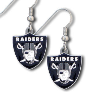 NFL Dangle Earrings - Oakland Raiders  - Enameled zinc Oakland Raiders logo earrings with the NFL Oakland Raiders Logo. A great way to show off your Oakland Raiders spirit! Check out our entire licensed sports Oakland Raiders jewelry line! Officially licensed NFL product Licensee: Siskiyou Buckle Thank you for visiting CrazedOutSports.com