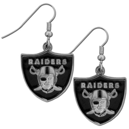 Oakland Raiders Chrome Dangle Earrings - These officially licensed NFL Oakland Raiders dangle earrings are fully cast with exceptional detail and a hand enameled finish. The earrings have a high polish nickel free chrome finish and hypoallergenic fishhook posts. Officially licensed NFL product Licensee: Siskiyou Buckle Thank you for visiting CrazedOutSports.com