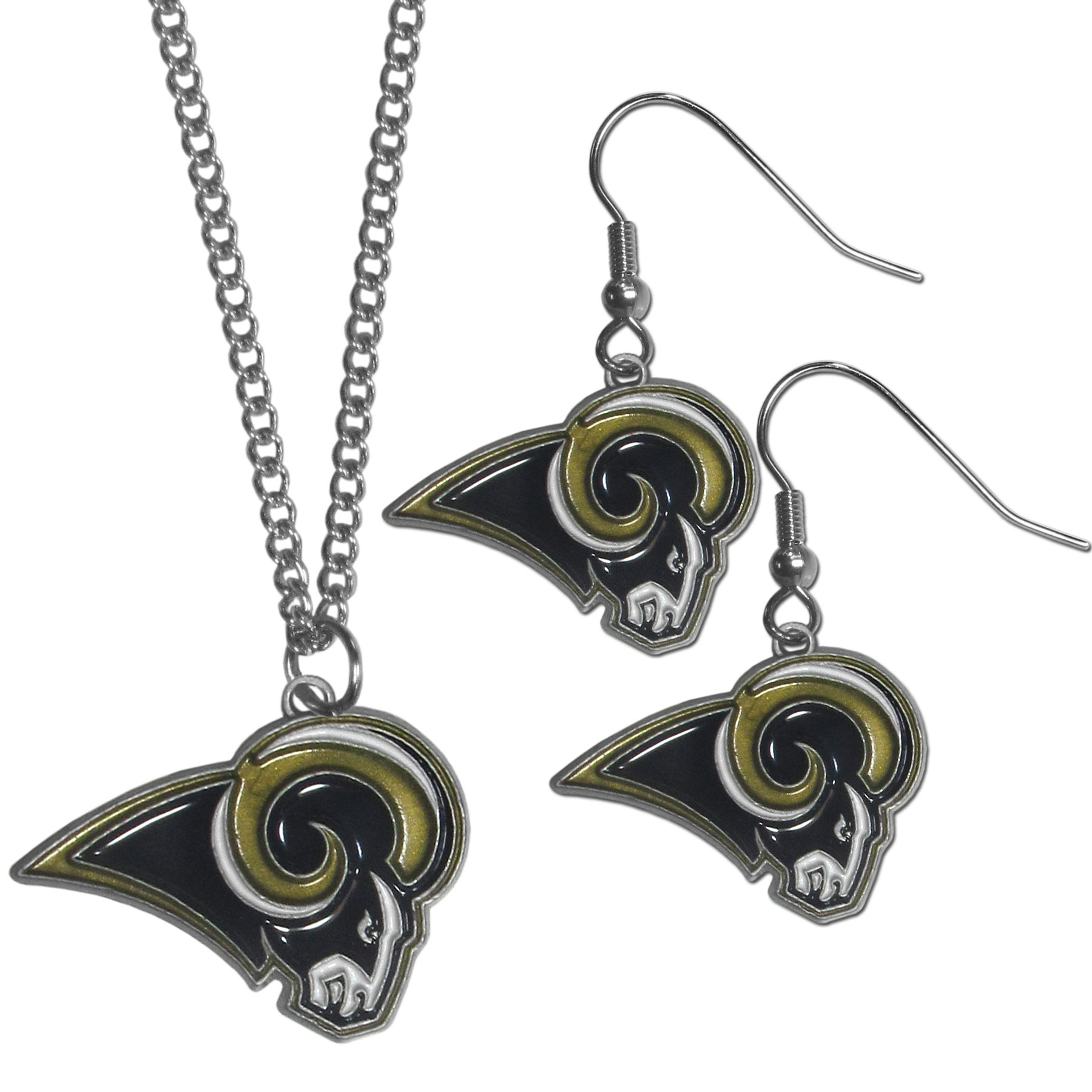 Los Angeles Rams Dangle Earrings and Chain Necklace Set - This classic jewelry set contains are most popular Los Angeles Rams dangle earrings and 22 inch chain necklace. The trendy, dangle earrings are lightweight and feature a fully cast metal team charm with enameled team colors. The matching necklace completes this fashion forward combo and is a spirited set that is perfect for game day but nice enough for everyday.