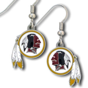 NFL Dangle Earrings - Washington Redskins  - Enameled zinc Washington Redskins earrings with the NFL Washington Redskins Logo. A great way to show off your Washington Redskins spirit! Check out our entire licensed sports Washington Redskins jewelry line! Officially licensed NFL product Licensee: Siskiyou Buckle Thank you for visiting CrazedOutSports.com