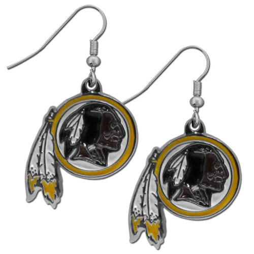 Washington Redskins Chrome Dangle Earrings - These officially licensed NFL Washington Redskins dangle earrings are fully cast with exceptional detail and a hand enameled finish. The earrings have a high polish nickel free chrome finish and hypoallergenic fishhook posts. Officially licensed NFL product Licensee: Siskiyou Buckle Thank you for visiting CrazedOutSports.com