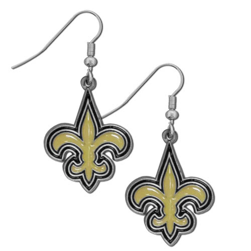 NFL Dangle Earrings - New Orleans Saints - Enameled zinc New Orleans Saints logo earrings with the NFL New Orleans Saints  Logo. A great way to show off your New Orleans Saints spirit! Check out our entire licensed sports New Orleans Saints jewelry line! Officially licensed NFL product Licensee: Siskiyou Buckle Thank you for visiting CrazedOutSports.com