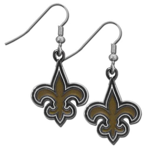 New Orleans Saints Chrome Dangle Earrings - These officially licensed NHL New Orleans Saints dangle earrings are fully cast with exceptional detail and a hand enameled finish. The earrings have a high polish nickel free chrome finish and hypoallergenic fishhook posts. Officially licensed NFL product Licensee: Siskiyou Buckle .com