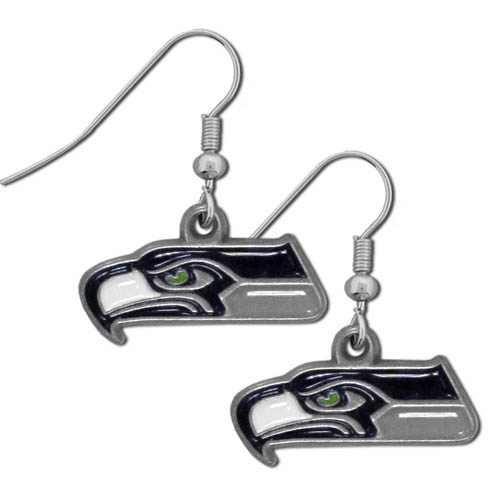 NFL Dangle Earrings - Seattle Seahawks - Enameled zinc Seattle Seahawks logo earrings with the NFL Seattle Seahawks Logo. A great way to show off your Seattle Seahawks spirit! Check out our entire licensed sports Seattle Seahawks jewelry line! Officially licensed NFL product Licensee: Siskiyou Buckle Thank you for visiting CrazedOutSports.com