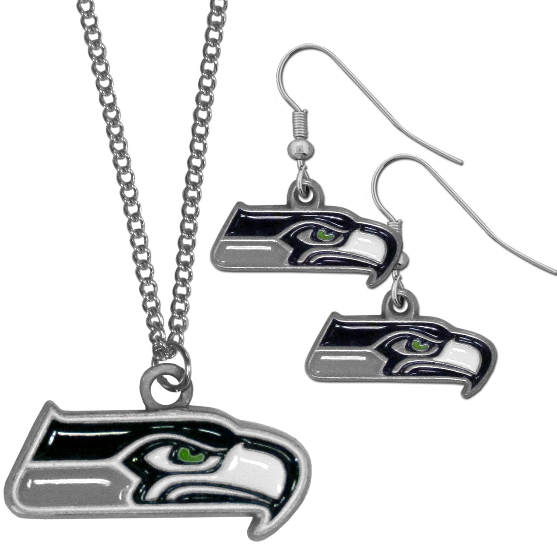 Seattle Seahawks Dangle Earrings and Chain Necklace Set - This classic jewelry set contains are most popular Seattle Seahawks dangle earrings and 22 inch chain necklace. The trendy, dangle earrings are lightweight and feature a fully cast metal team charm with enameled team colors. The matching necklace completes this fashion forward combo and is a spirited set that is perfect for game day but nice enough for everyday.