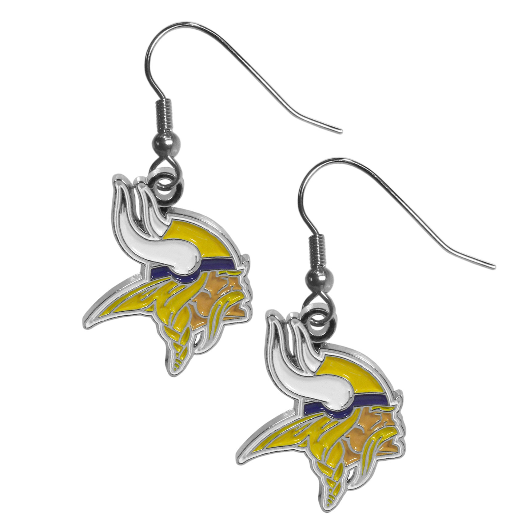 Minnesota Vikings Chrome Dangle Earrings - Officially licensed NFL Minnesota Vikings dangle earrings have fully cast Minnesota Vikings charms with exceptional detail and a hand enameled finish. The Minnesota Vikings chrome dangle earrings have a high polish nickel free chrome finish and hypoallergenic fishhook posts.