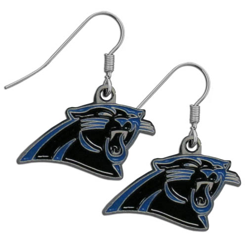 NFL Dangle Earrings - Carolina Panthers - Enameled zinc Carolina Panthers logo earrings with the NFL Carolina Panthers  Logo. A great way to show off your Carolina Panthers spirit! Check out our entire licensed sports Carolina Panthers jewelry line! Officially licensed NFL product Licensee: Siskiyou Buckle .com