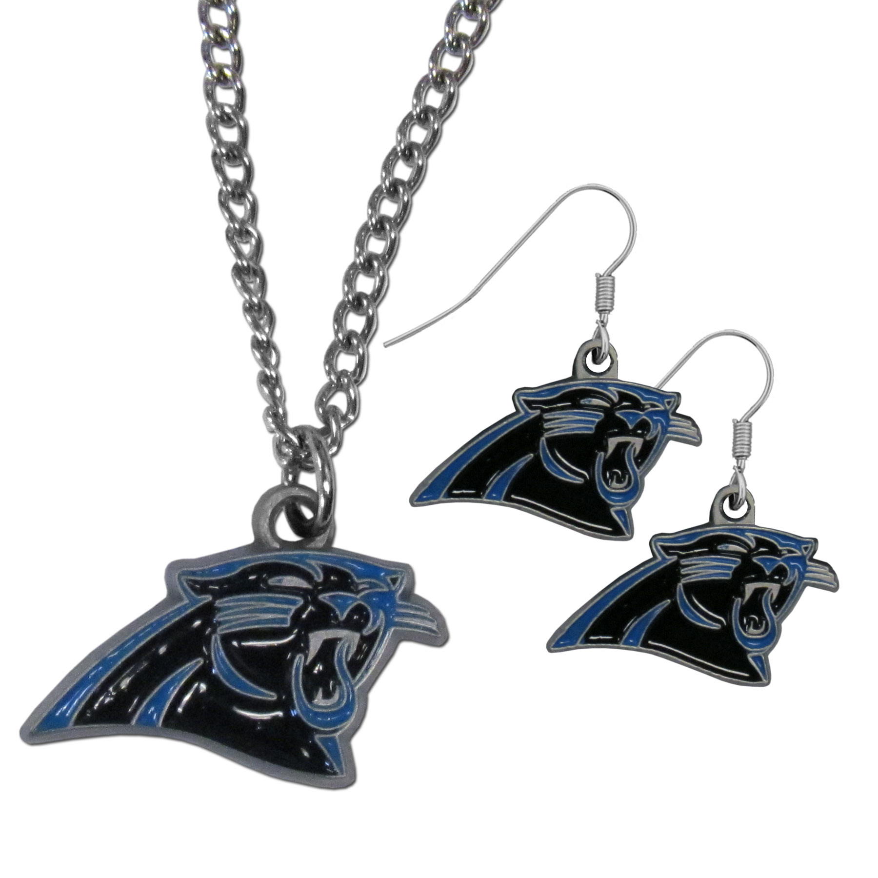 Carolina Panthers Dangle Earrings and Chain Necklace Set - This classic jewelry set contains are most popular Carolina Panthers dangle earrings and 22 inch chain necklace. The trendy, dangle earrings are lightweight and feature a fully cast metal team charm with enameled team colors. The matching necklace completes this fashion forward combo and is a spirited set that is perfect for game day but nice enough for everyday.