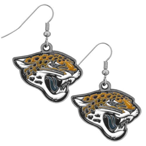 NFL Dangle Earrings - Jacksonville Jaguars - Enameled zinc Jacksonville Jaguars logo earrings with the NFL Jacksonville Jaguars  Logo. A great way to show off your Jacksonville Jaguars spirit! Check out our entire licensed sports Jacksonville Jaguars jewelry line! Officially licensed NFL product Licensee: Siskiyou Buckle Thank you for visiting CrazedOutSports.com