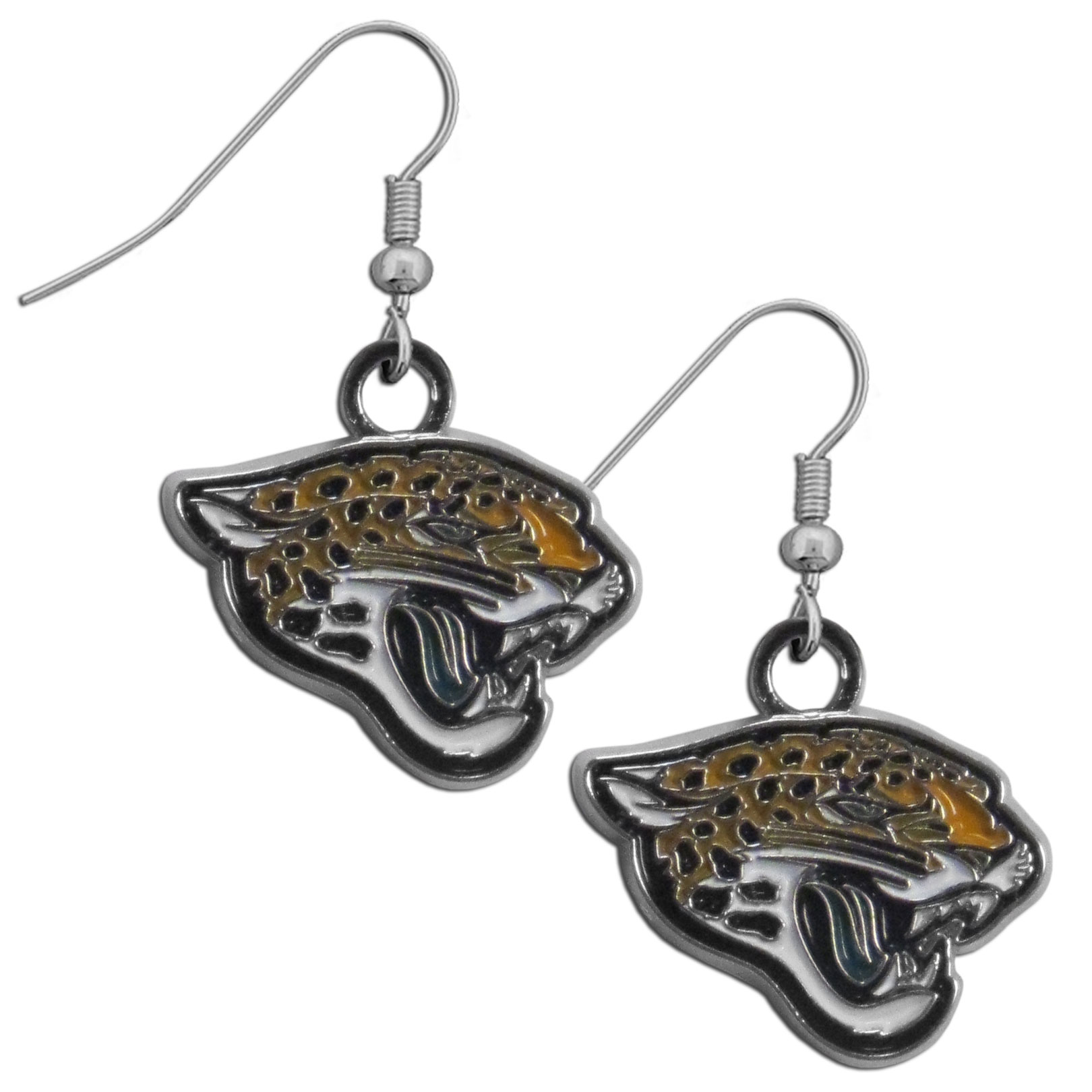 Jacksonville Jaguars Chrome Dangle Earrings - Officially licensed NFL Jacksonville Jaguars dangle earrings have fully cast Jacksonville Jaguars charms with exceptional detail and a hand enameled finish. The Jacksonville Jaguars  earrings have a high polish nickel free chrome finish and hypoallergenic fishhook posts.
