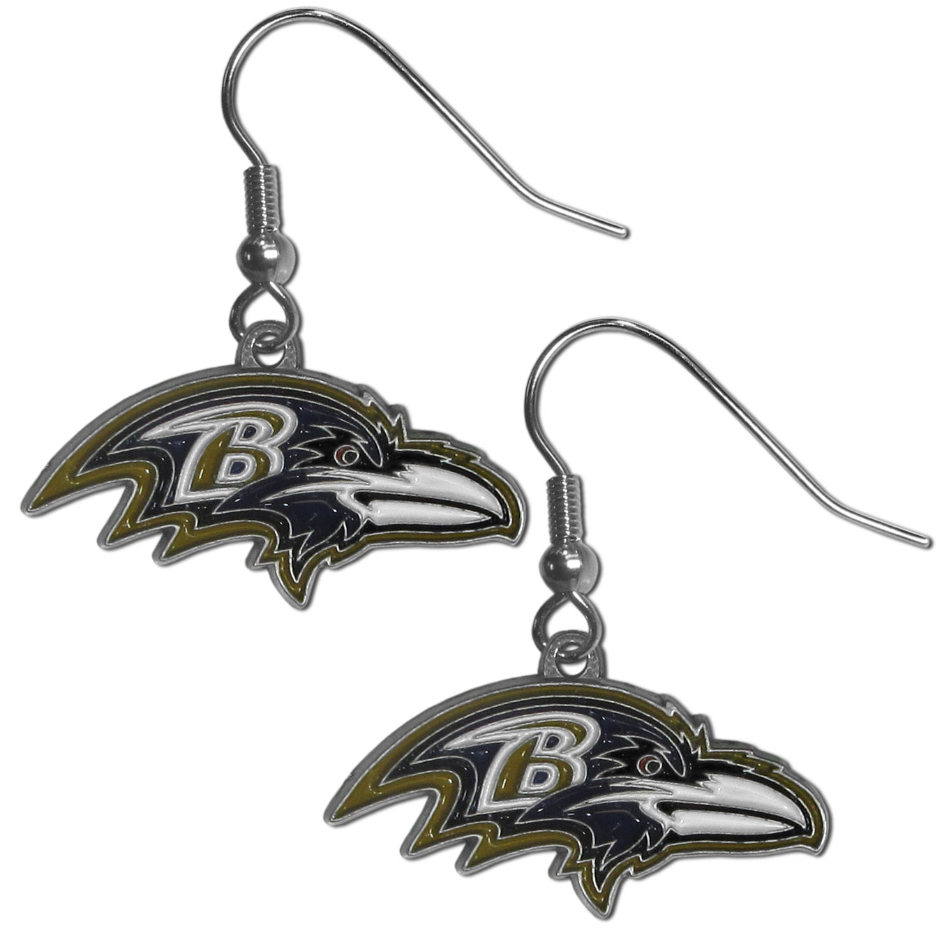 NFL Dangle Earrings - Baltimore Ravens - Enameled zinc Baltimore Ravens logo earrings with the NFL Baltimore Ravens Logo. A great way to show off your Baltimore Ravens spirit! Check out our entire licensed sports Baltimore Ravens jewelry line! Officially licensed NFL product Licensee: Siskiyou Buckle Thank you for visiting CrazedOutSports.com