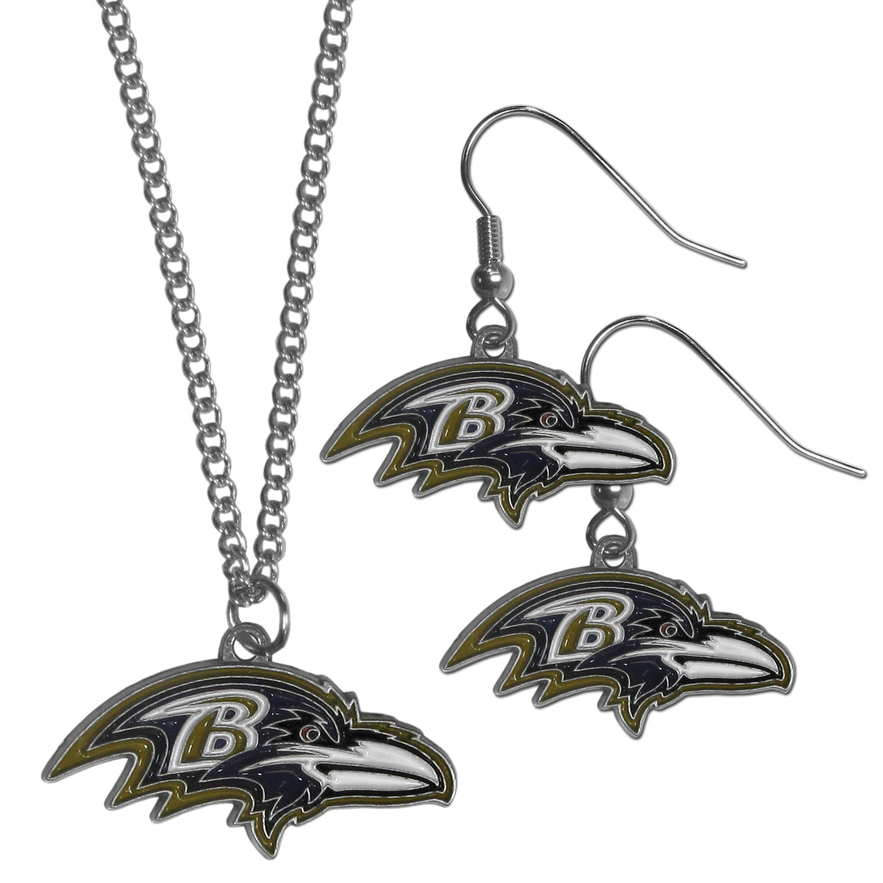 Baltimore Ravens Dangle Earrings and Chain Necklace Set - This classic jewelry set contains are most popular Baltimore Ravens dangle earrings and 22 inch chain necklace. The trendy, dangle earrings are lightweight and feature a fully cast metal team charm with enameled team colors. The matching necklace completes this fashion forward combo and is a spirited set that is perfect for game day but nice enough for everyday.