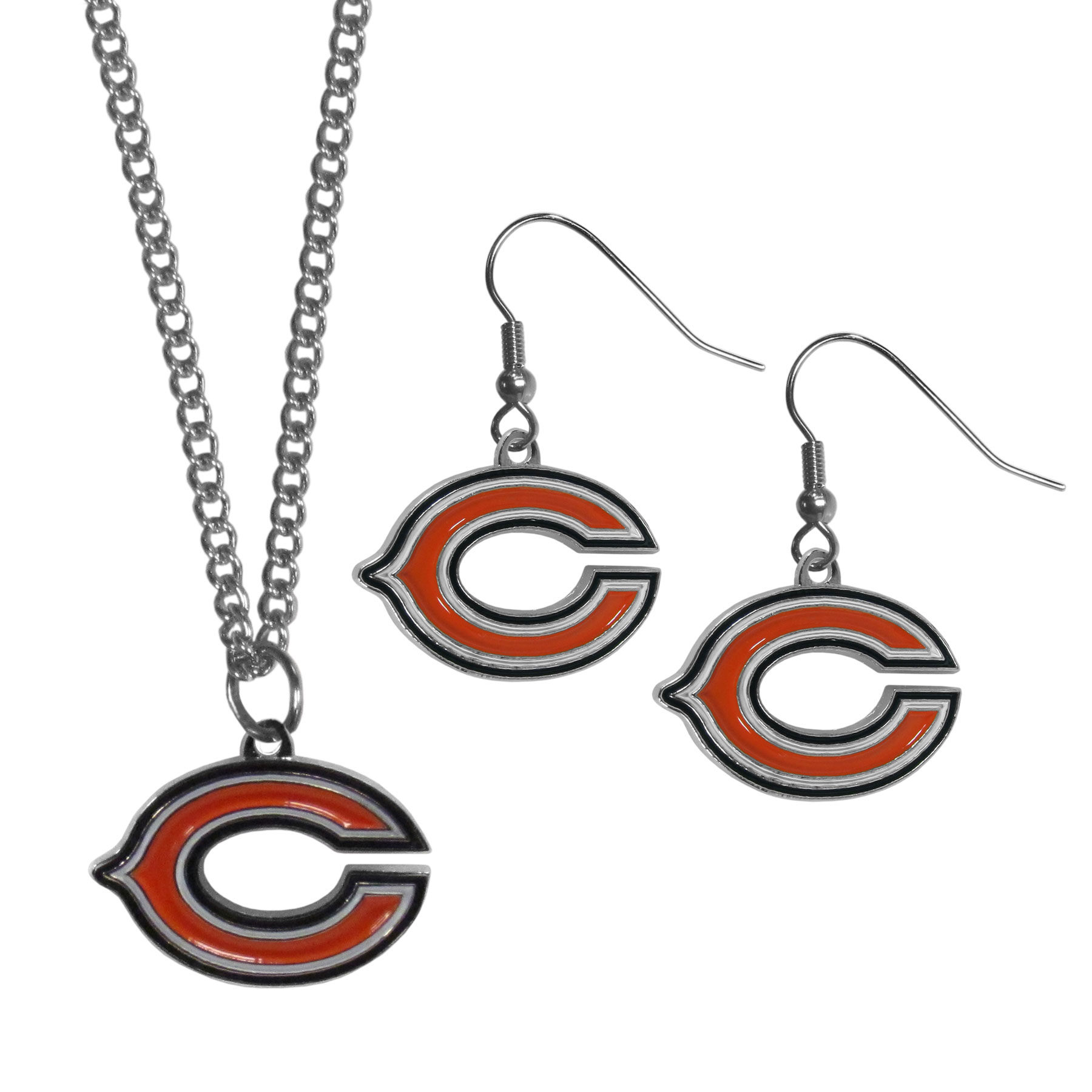 Chicago Bears Dangle Earrings and Chain Necklace Set - This classic jewelry set contains are most popular Chicago Bears dangle earrings and 22 inch chain necklace. The trendy, dangle earrings are lightweight and feature a fully cast metal team charm with enameled team colors. The matching necklace completes this fashion forward combo and is a spirited set that is perfect for game day but nice enough for everyday.