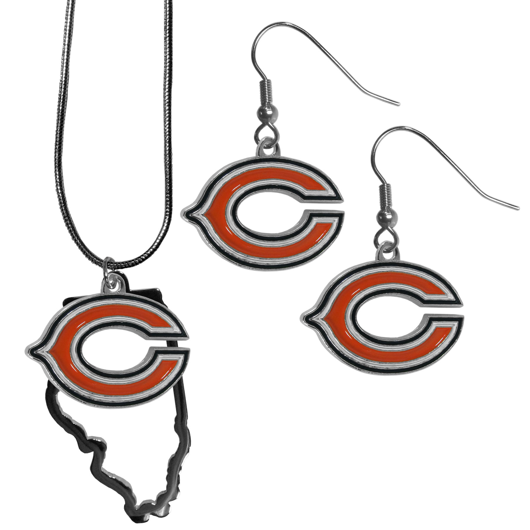 Chicago Bears Dangle Earrings and State Necklace Set - Get in on the trend! State themes are a trend that just keeps getting more popular and this jewelry set takes the state style and give it a sporty twist with a Chicago Bears necklace that features an Arizona state outline charm paired with a beautiful team charm and matching team charm dangle earrings. The earrings feature hypoallergenic fishhook posts that are nickel free.
